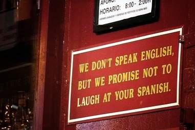 Speak english sign