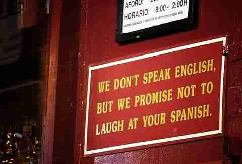 Speak english sign
