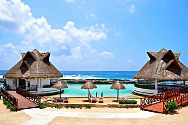 Mexico beach cabanas