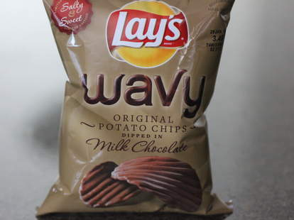 Lay's wavy potato chips dipped in milk chocolate
