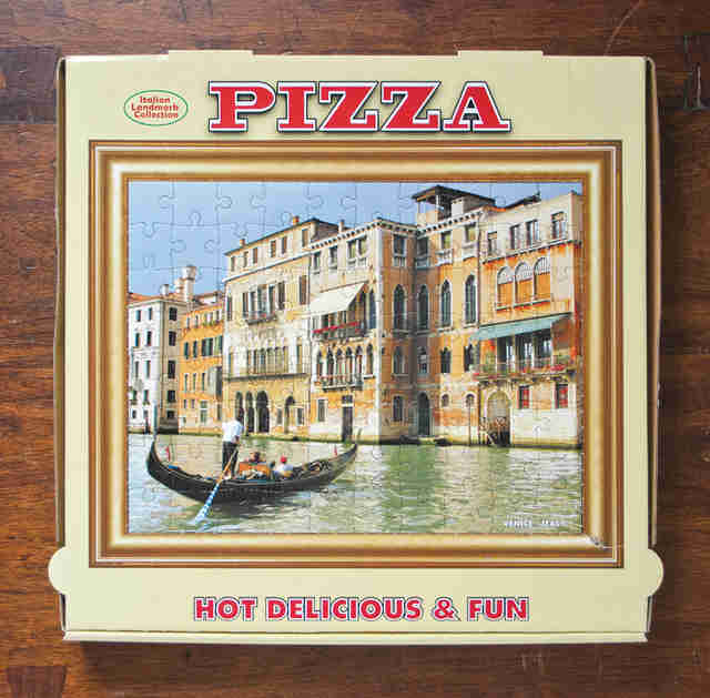 puzzle on a pizza box