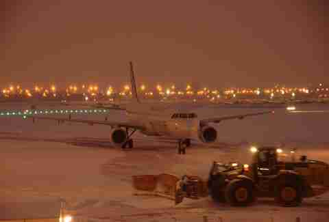 air canada flight in the snow