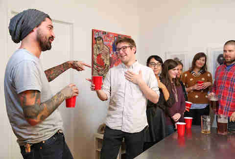 picking a teammate at flip cup