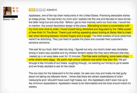 Applebee's Yelp review Mark Wahlberg