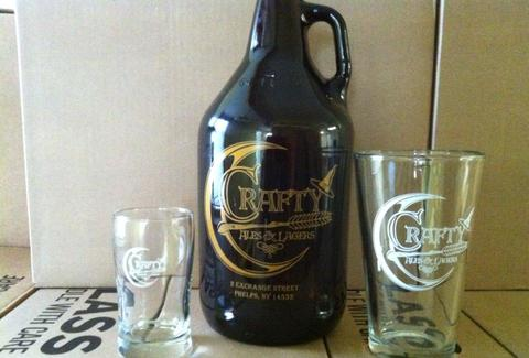 Crafty growler and glasses