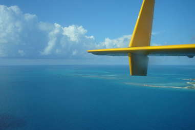 View of plane wing from the air