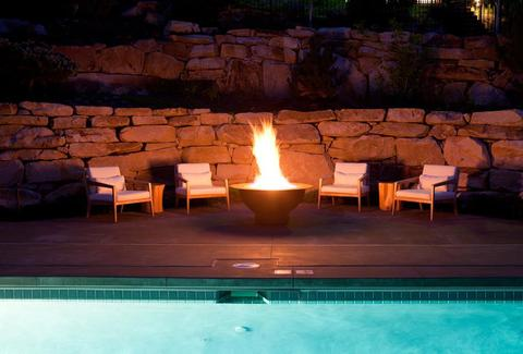 fire pit by the pool