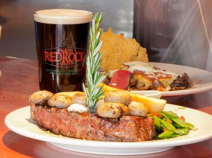 Red rock beer and steak