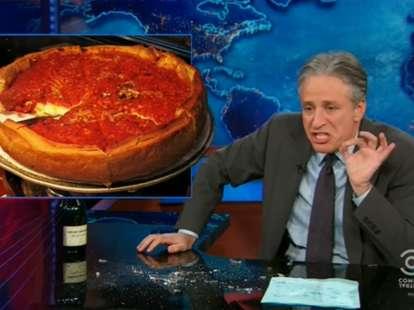 Jon Stewart Chicago deep dish pizza