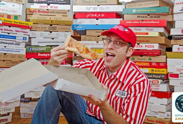 The world\'s largest collection of pizza boxes belongs to this ravenous man