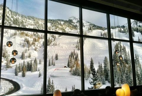 Aerie lounge view of ski slope