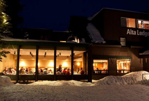 alta lodge at night