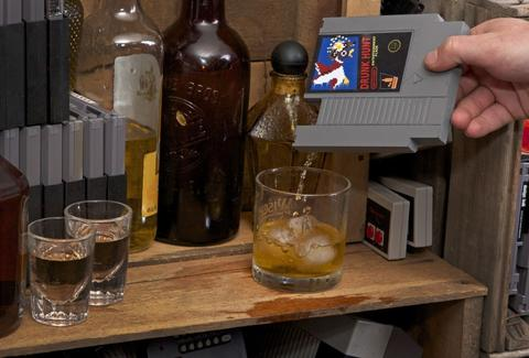 ink whiskey nintendo flask