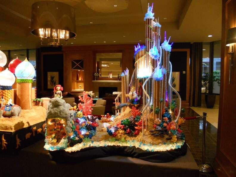 Sheraton Seattle Ariel's castle gingerbread house