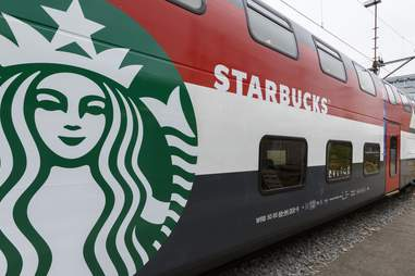 Starbucks logo on Swiss train