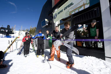 Skiers, on-mountain starbucks