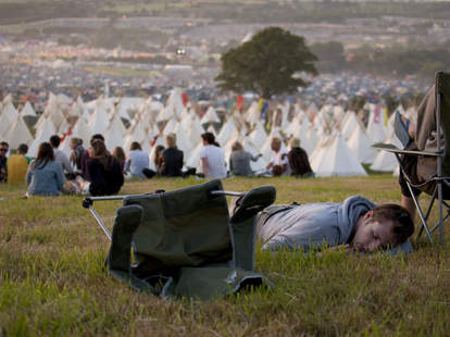 man passed out at glastonbury