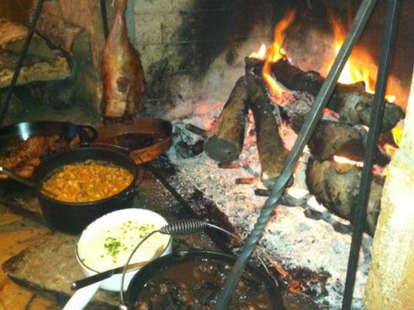 fireplace with food