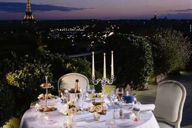 dinner, Eiffel Tower, Le Meurice hotel
