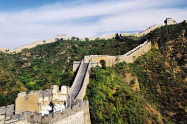 Picnic atop the Great Wall of china