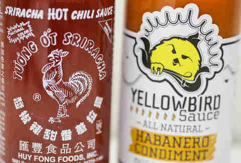sriracha and yellowbird close up