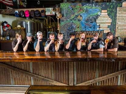 staff drinking beer