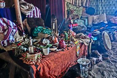 Ayahuasca ceremony altar
