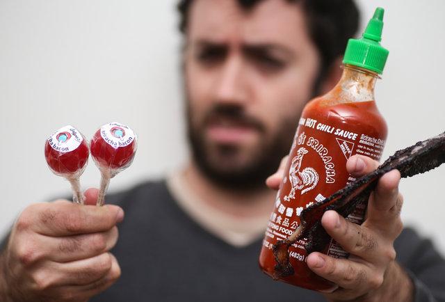 Sriracha bacon lollipops