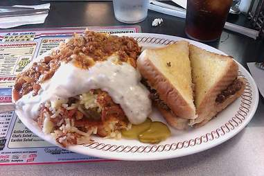 Smothered covered capped peppered topped Waffle House