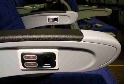 Armrest on Scoot Airlines plane