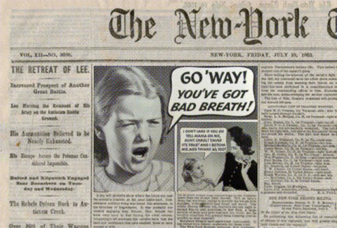 Old bad breath ad newspaper