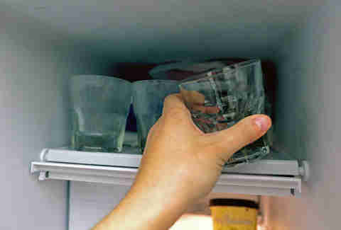 Putting glasses in the freezer