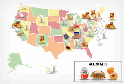 map of foods banned in the US