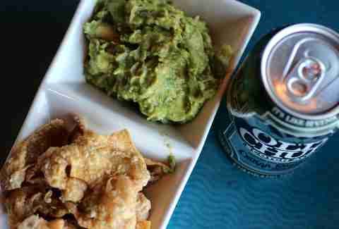 guac and chicken skin chiccarones at Cyclhops