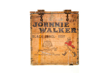 A Johnnie Walker shipping crate
