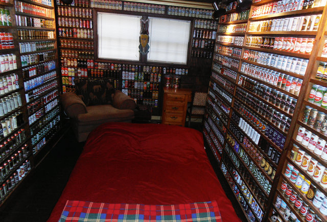 A hotel made out of 83,000 beer cans