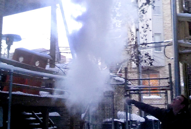 Hot water is freezing in mid-air in Chicago
