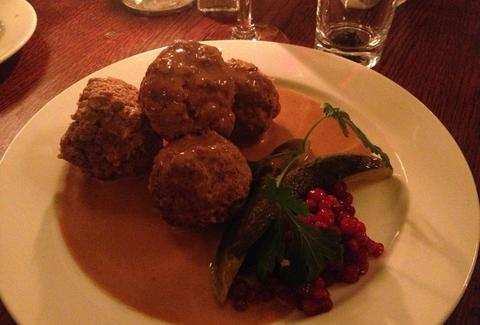 meatballs, lingonberry jam, cream sauce