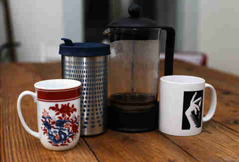 impress and french press with mugs