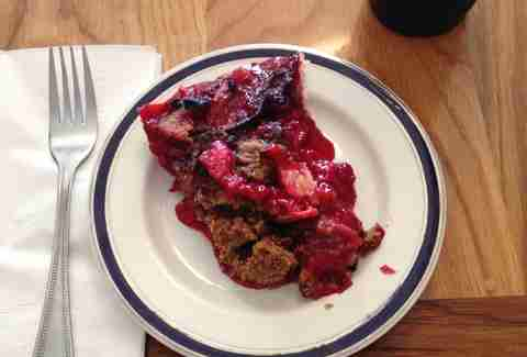 Blue Stove raspberry plum pie