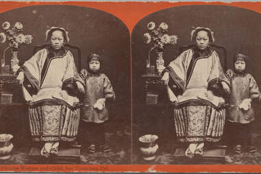 chinese american immigrant woman with child