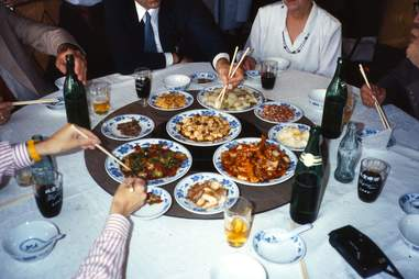 chinese food on a lazy susan