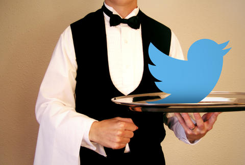 Waiter with Twitter bird