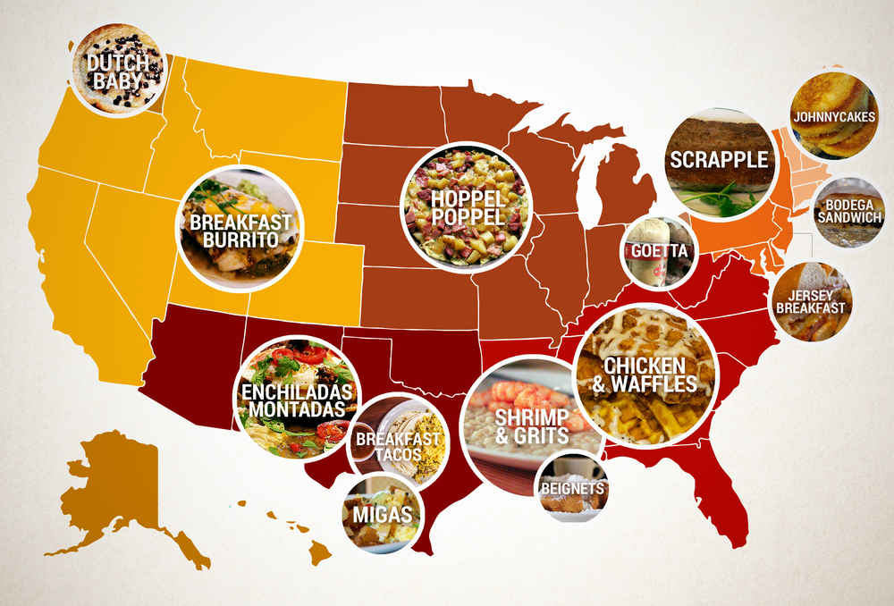 Regional Breakfast Foods In America Chicken And Waffles - Map us foods pheonicx