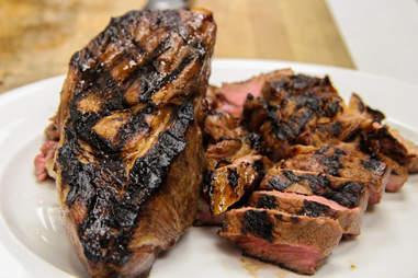 ribs steak and sliced