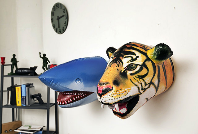 Inflatable alternatives to actually hunting tigers and sharks