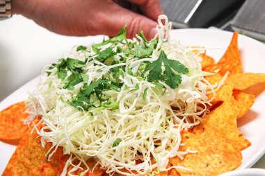 cabbage and cilantro on Doritos