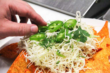 cabbage, cilantro, and jalapeno on Doritos