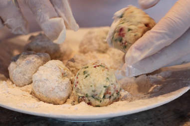 mashed potato balls in flour