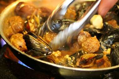 Sausage, Beer & Blue Cheese Mussels